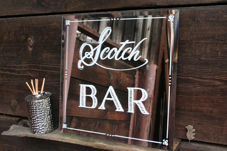 scotch bar mirror sign | http://emmalinebride.com/decor/wedding-mirror-signs/