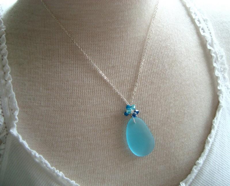 sea glass necklace by fuchsia bloom studio
