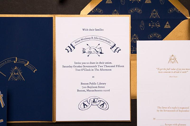 hand drawn secret society wedding invitation | by Sparkvites