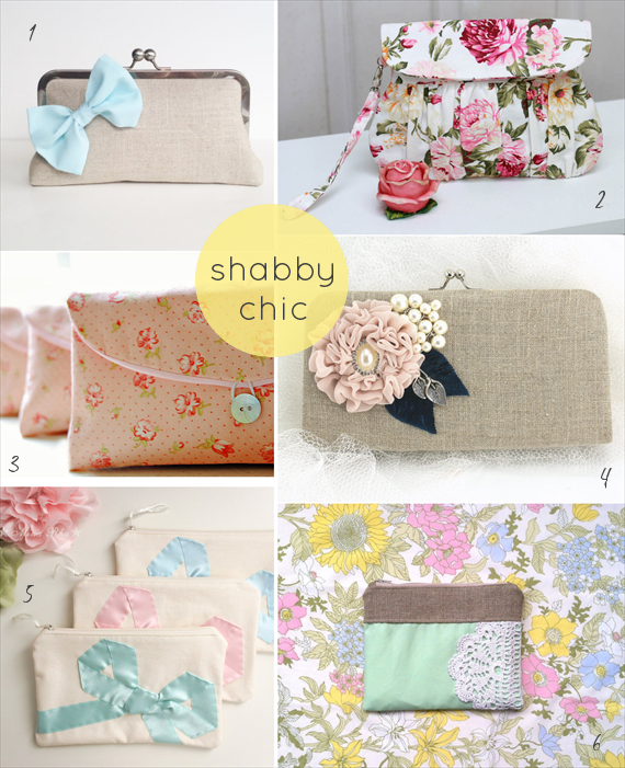shabby chic wedding clutches by theme