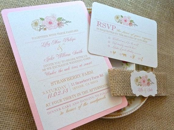shabby chic wedding invitation - Invitations for Wedding Themes