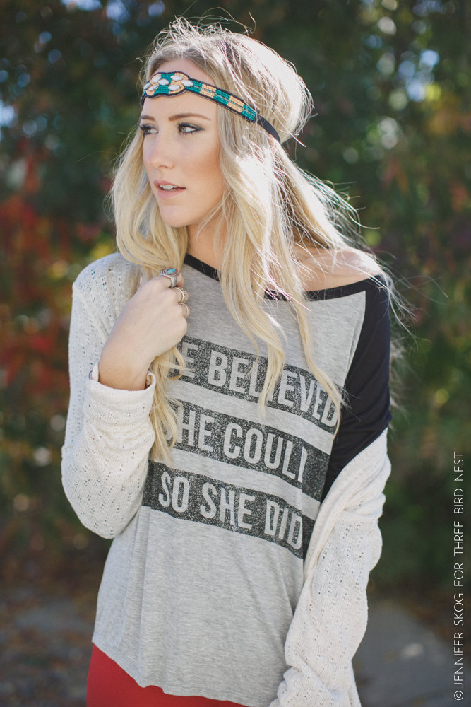 she believed she could so she did shirt and boho headband