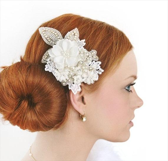 shimmering fascinator via 15 Stunning Wedding Veil Alternatives