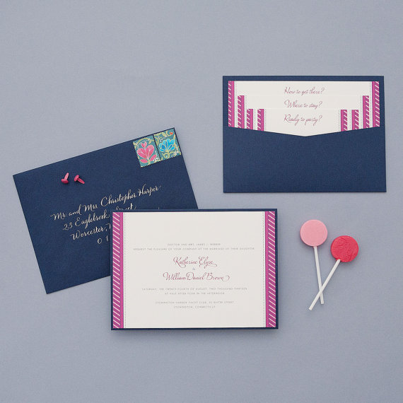 how to coordinate your wedding - shirt stripes invitation (by dear lc)