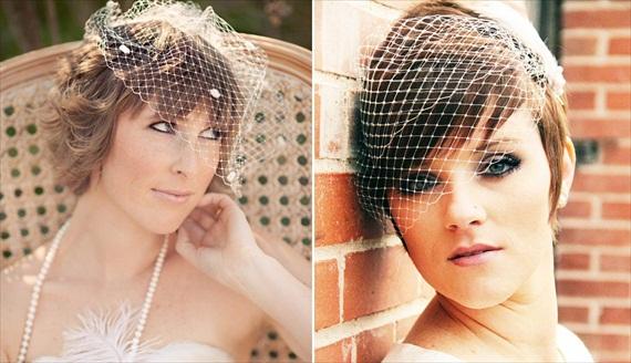 How to Wear a Birdcage Veil with Short Hair