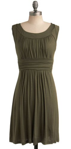 short-olive-bridesmaid-dress
