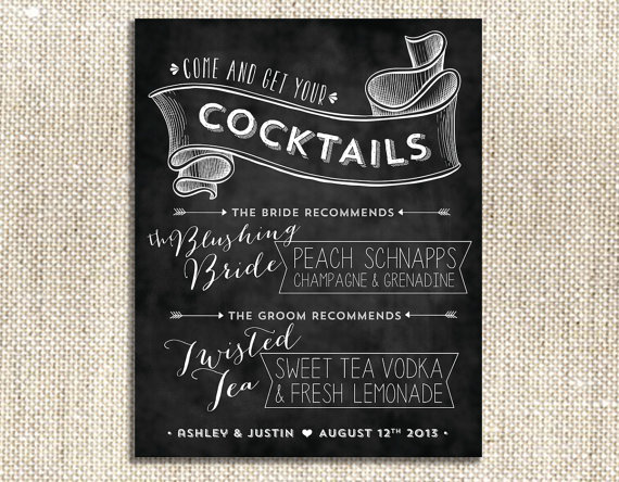 signature cocktail wedding sign on chalkboard