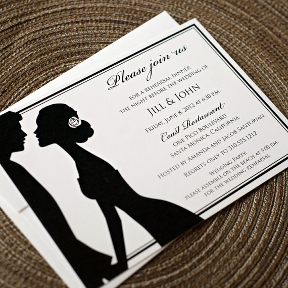 silhouette rehearsal dinner invitation | silhouette wedding ideas via EmmalineBride.com