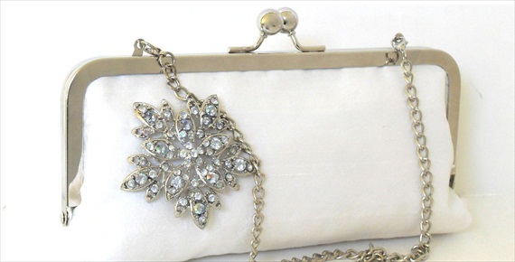 silk bridal clutch with brooch