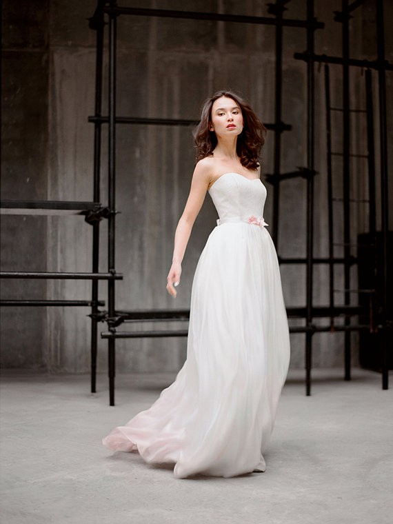 silk strapless wedding gown