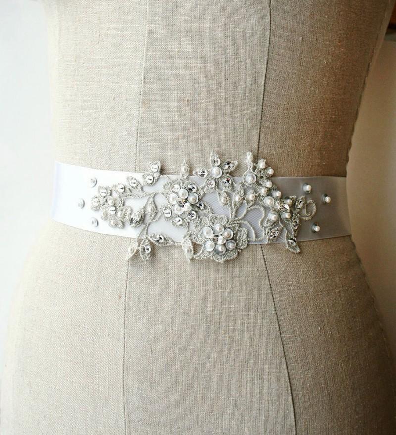 silver beaded wedding dress sash | NEW Wedding Dress Sash Ideas via http://emmalinebride.com/bride/wedding-dress-sash-ideas/