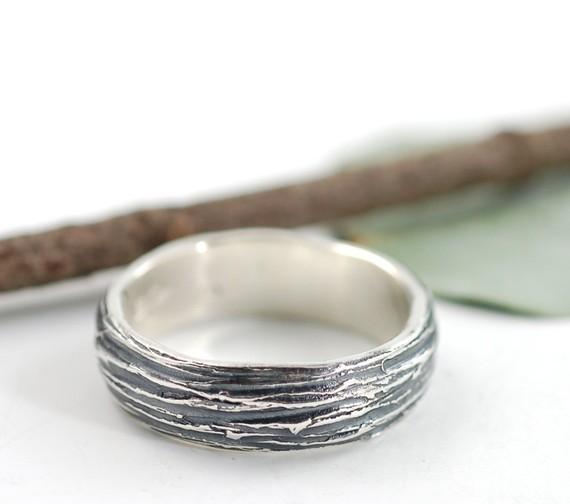silver tree bark wedding ring | handmade wedding bands | http://emmalinebride.com/jewelry/handmade-wedding-bands/