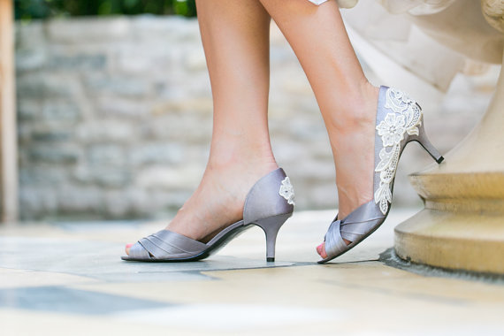 silver wedding heels lace