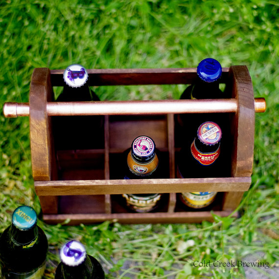 six pack beer caddy wood