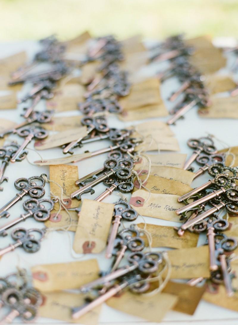 skeleton key escort card favors | https://emmalinebride.com/favors/skeleton-key-escort-card-favors/