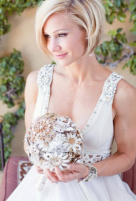 sleek angled bob wedding hairstyle