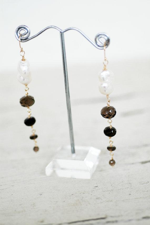smoky quartz freshwater pearl drop earrings