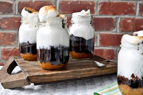 DIY Mason Jar Gifts - smores cake in a jar