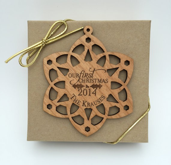 snowflake ornament wood  by urbantimberwoodworks via 50+ First Christmas Ornaments Engaged / Married