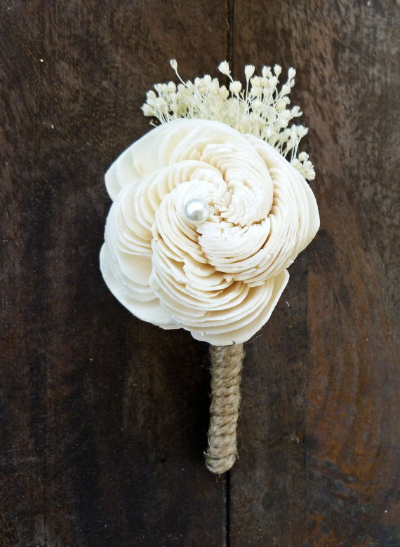 sola flower boutonniere wrapped in burlap