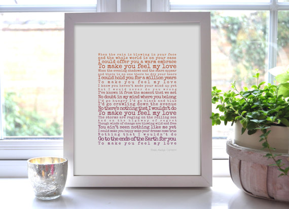 wedding gift ideas from a to z - first dance song lyric print by pocket full of posies