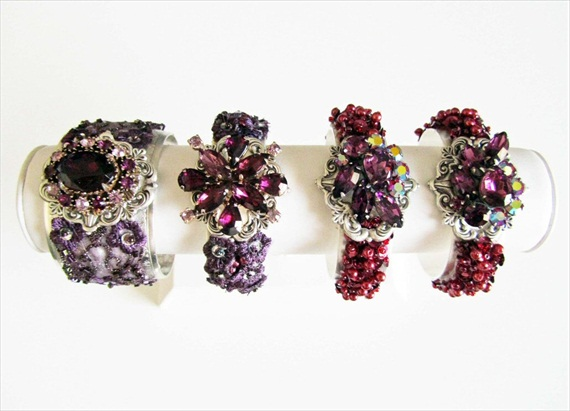 Purple Rhinestone Cuff Bracelet