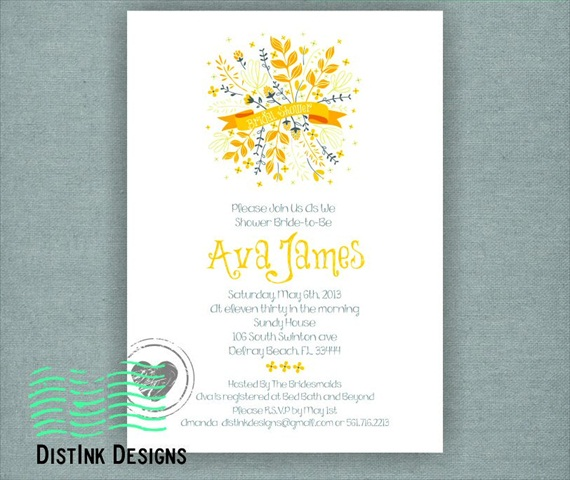 spring bridal shower theme invitations