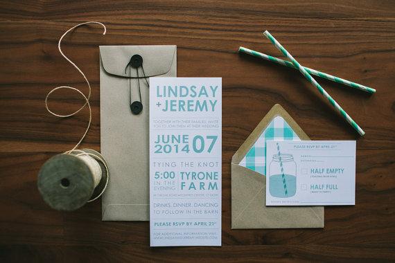 spring plaid wedding invitations