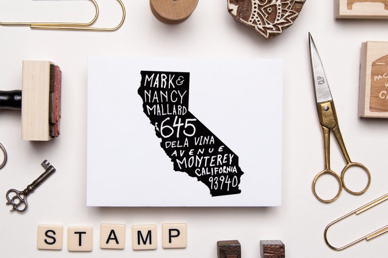 state address stamp via 25 State Ideas That Will Make Your Big Day More Awesome