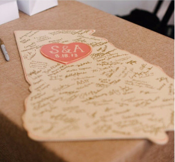 state cut out guest book via 25 State Ideas That Will Make Your Big Day More Awesome