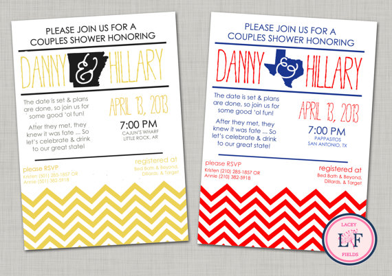 state themed bridal shower invites