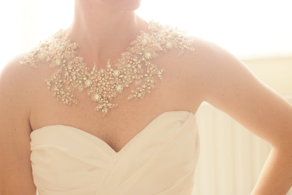 statement necklace | via Wedding Dress with Statement Necklace https://emmalinebride.com/bridal/wedding-dress-with-statement-necklace/