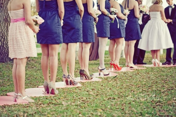 Stepping stones for bridesmaids make it easy to wear heels and stand at the ceremony (without digging into the grass).  These heart shaped stepping stones are even more adorable! Get the DIY to make your own.