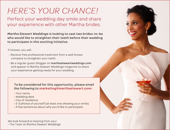 Win a Perfect Smile for your Wedding (giveaway by Martha Stewart Weddings) ends March 15th