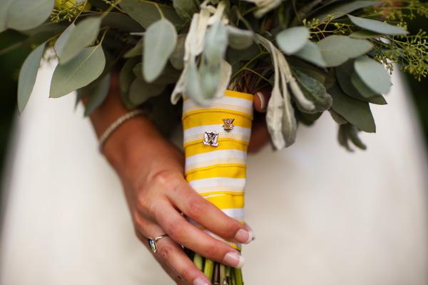 striped ribbon around bouquet as wrap