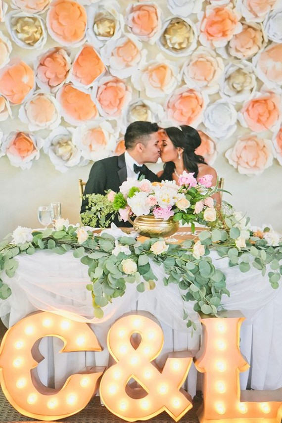 stunning paper flower backdrop sweetheart table