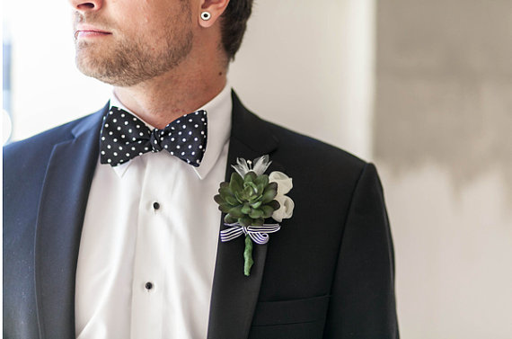 succulent wedding boutonniere (by catharine klepac)