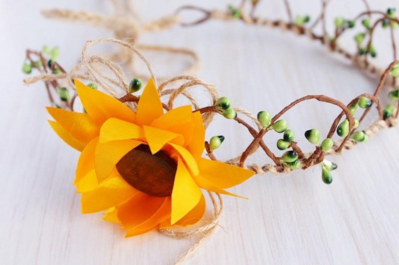 Sunflower | Flower Girl Hair Crowns | https://emmalinebride.com/flower-girl/hair-crowns/