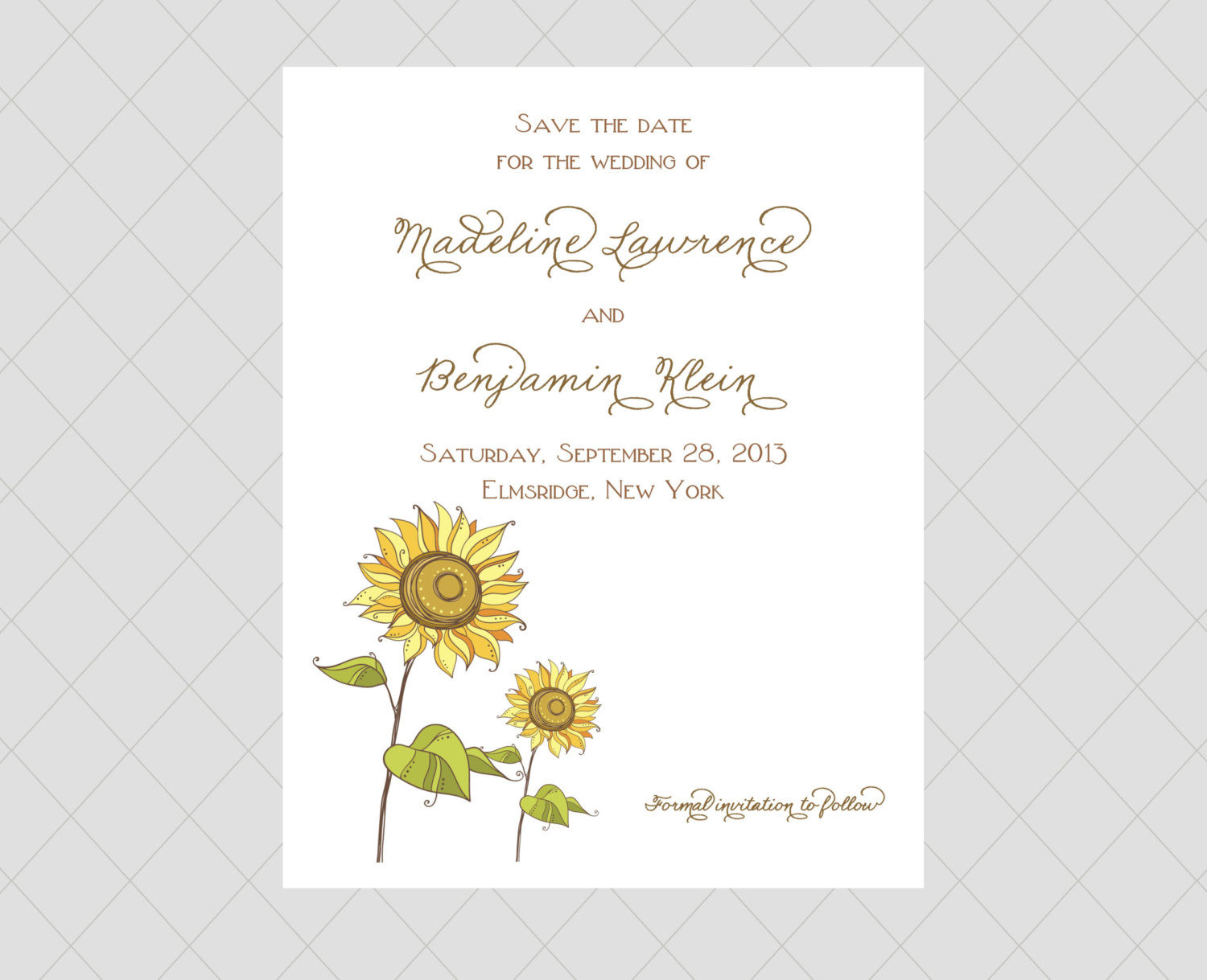 sunflower save the date cards by whimsical prints