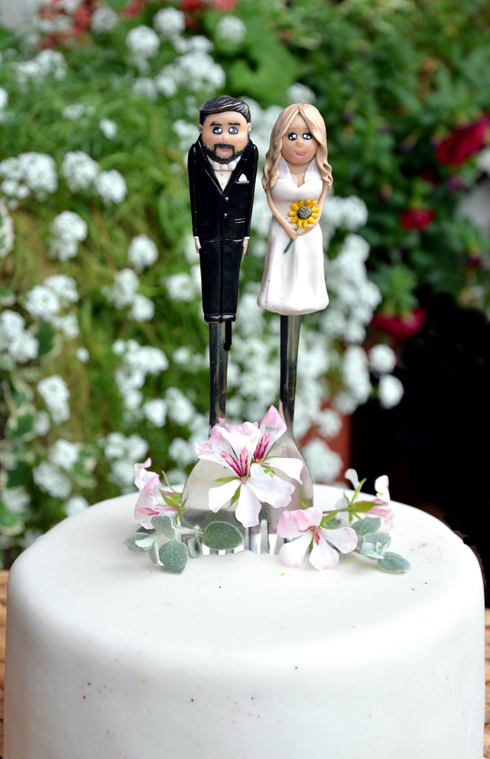 sunflower wedding cake topper by RadArtaDesign