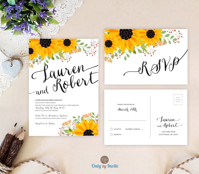 sunflower wedding invitations by onlybyinvite