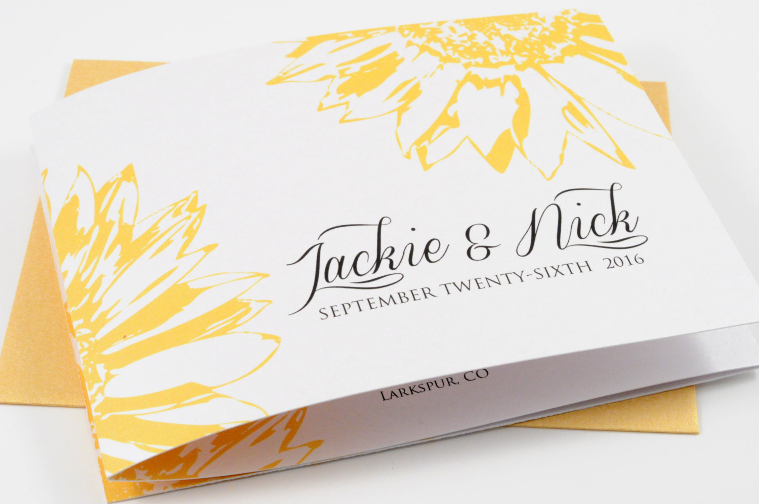 sunflower wedding program by down2earthpaperworks
