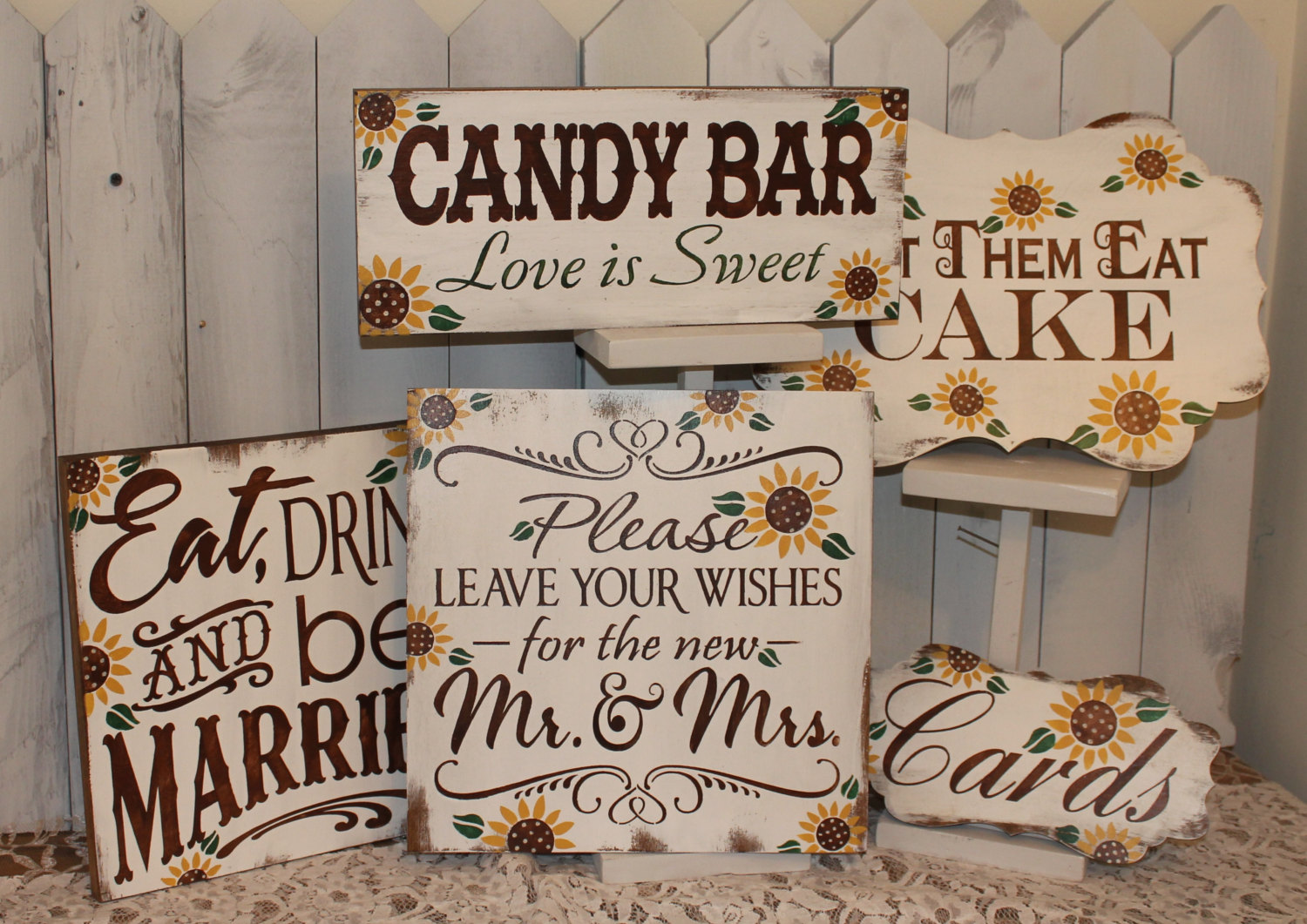 sunflower wedding sign by gingerbreadromantic