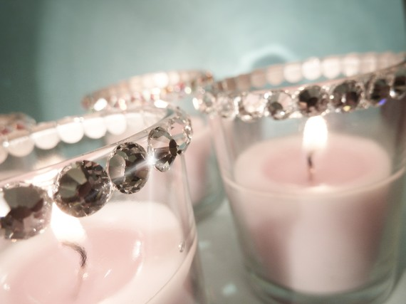 swarovski crystal votive candles sparkly winter wedding ideas