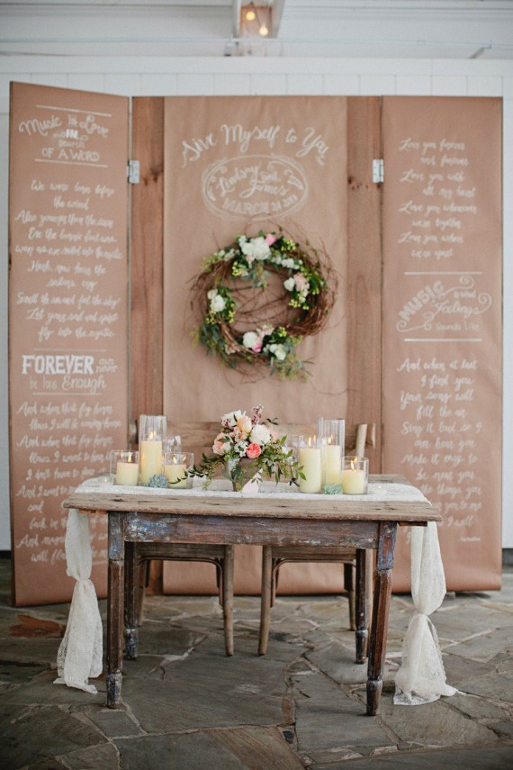 sweetheart table with backdrop