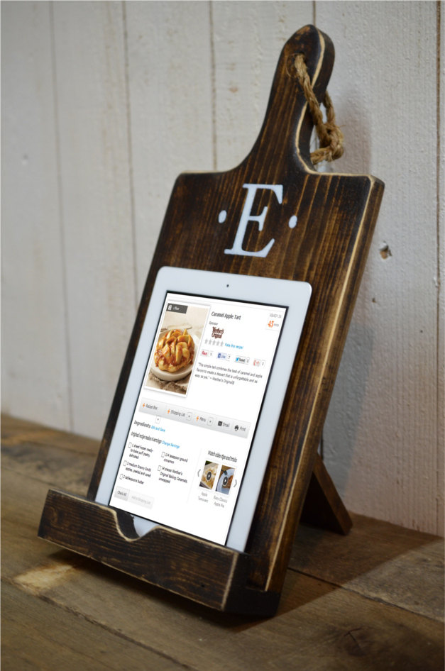 tablet stand for kitchen with monogram