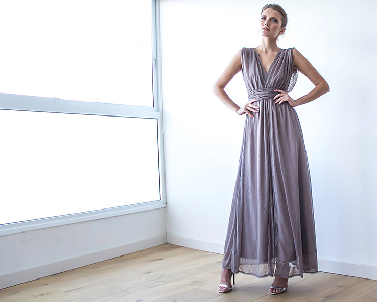 Taupe Bridesmaid Maxi Dress | via Bridesmaid Maxi Dresses https://emmalinebride.com/bridesmaids/bridesmaid-maxi-dresses/