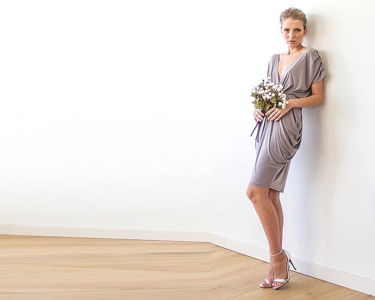 taupe short maxi dress