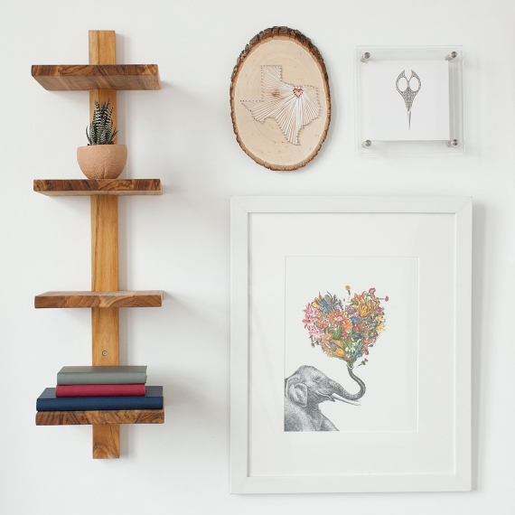 teak wood shelf minimalist via 27 Amazing Anniversary Gifts by Year http://emmalinebride.com/gifts/anniversary-gifts-by-year/