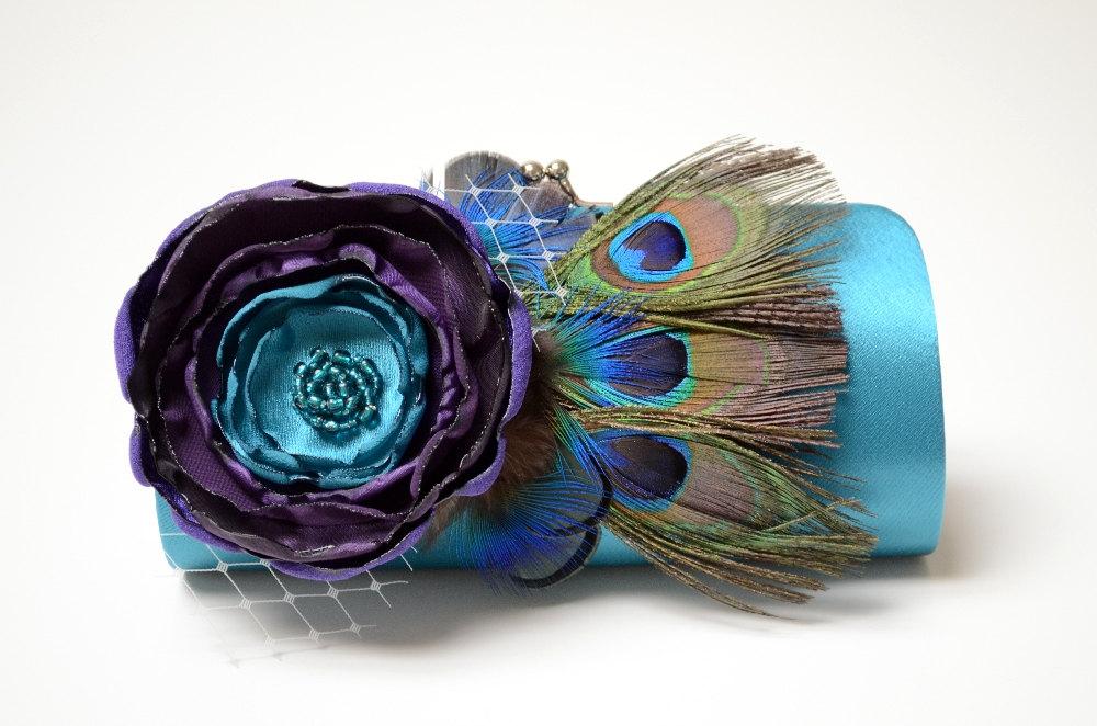 teal peacock wedding clutch